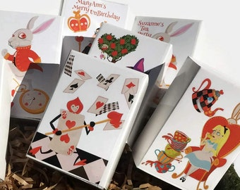 Modern Alice in Wonderland Wedding Shower Favors | Slider Boxes | Red Queen White Rabbit Chesire Cat | Colorful Contemporary 36 Personalized