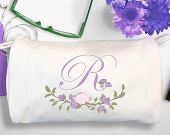 Bridesmaid Floral Monogram Makeup Bag | Lavender Initial Cosmetic Bag | Mother of the Bride Personalized Cosmetic Bag | Flowers Cosmetic Bag