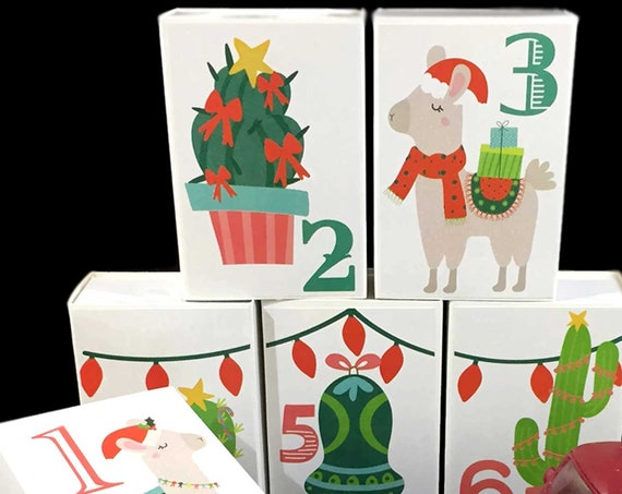Christmas Llamas Advent Calendar | Personalized Kids Cactus Llama Xmas Countdown Box Decorations | Bright Fiesta Southwest Fun Advent Kit