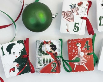 christmas advent calendar boxes retro women mad men 50s 60s mcm eames era vintage cards decorations display modern countdown kit 1 25