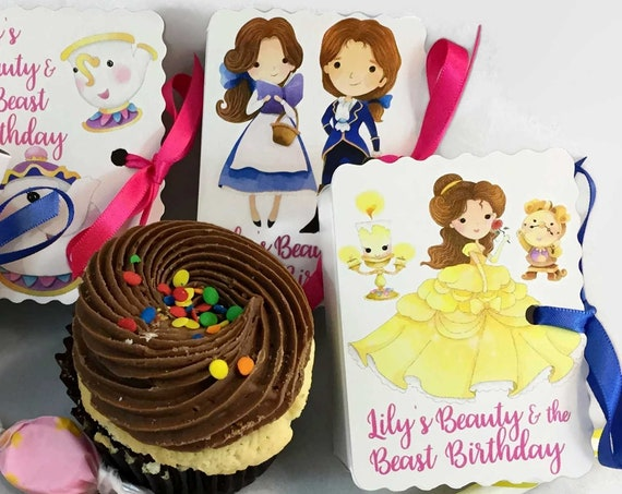 Beauty and the Beast Party Favors | 24 Personalized Belle Favors | Boy Girl Baby Shower | Girl Birthday Party l Cute Girlie Party Favors