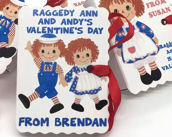 Raggedy Ann and Andy Valentine Mini Book Gift Boxes | 24 Boy Girl Book Theme Valentine Boxes | Valentines Day Candy Treat Box | Personalize
