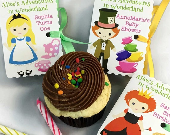 Delightful Alice in Wonderland Party Favors | 24 Personalized Miniature Book Boxes for Showers and Birthdays