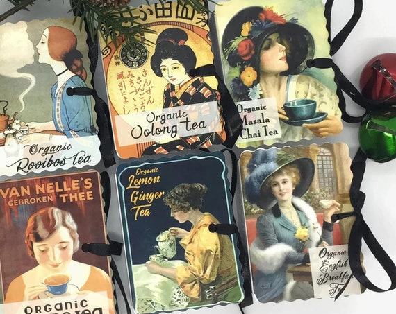 Organic Tea Stocking Stuffers Women | Tea Party Favors | Vintage Women Antique Labels Ads | Tea Lover | Teacher Gift | Office Gifts Under 10