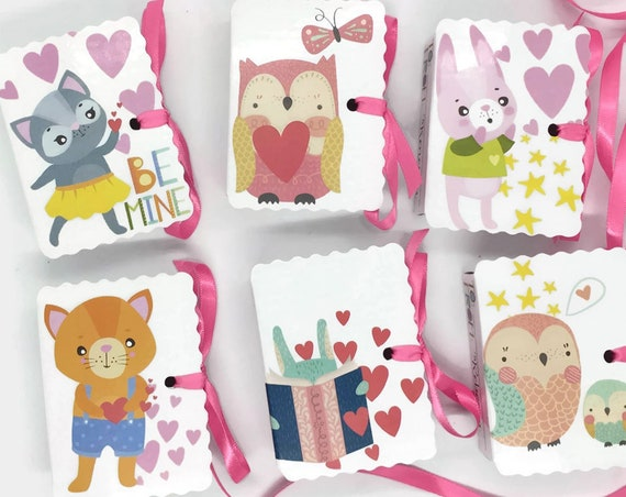 Cute Animals Valentine Mini Book Gift Box Cards | 24 Boy Girl Treat Valentine Boxes Personalized