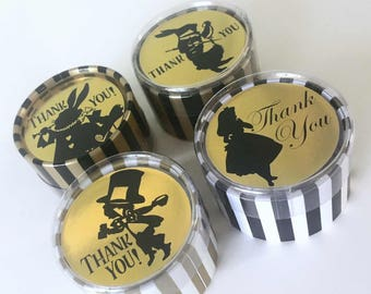 Alice in Wonderland Favor Boxes | 30 Customized Round Gold Stripe Box | Birthday Wedding Shower | Eat Me Take Me Thank You Wonderland Decor