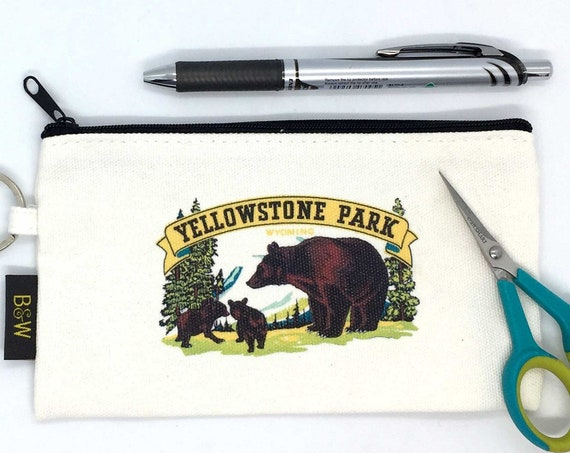 Yellowstone Zip Cosmetic Bag | Zippered Makeup Bag | Zip Pencil Case | Vintage US Parks Bears Gift Souvenir | Zipper Pouch CLOSEOUT SALE