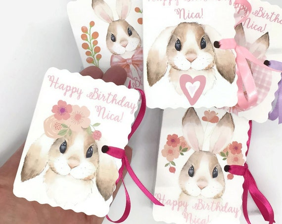20 Bunny Rabbit Party Favors | Personalized Sweet Pink Bunny Boxes | One Year Girlie Birthday | Girl Baby Shower | Easter | Pink Bunnies