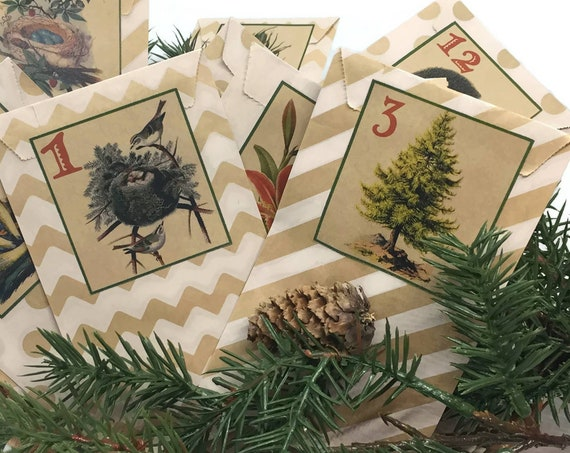 Woodland Rustic Advent Calendar Kit | Nature Vintage Christmas Countdown | Rustic Cabin Country Cottage Forest Trees Birds Tabletop Hanging
