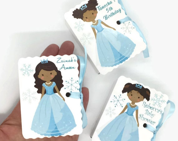Princess Party Favors Brown Skin | 12 Cute Personalized Latina African American | Girl Baby Shower Girl Birthday | Blue Gown | Latinx Girls