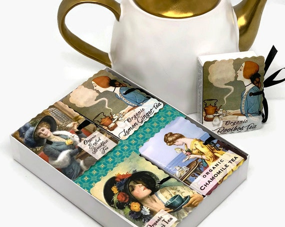 Vintage Women Organic Stay at Home Tea Gift | CHOOSE Your Message - Get Well - Birthday - Stay at Home - Mothers Day | Gifts Under 30