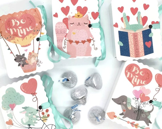 Dogs Cats Animals Valentine Mini Book Gift Box Cards | 25 Boy Girl Treat Valentine Boxes | Class School Valentines Day Candy Bag | Classroom