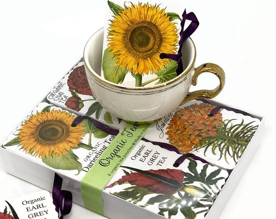 Organic Tea Botanical Flowers Gift | Choose Your Message - Birthday - Get Well - Mothers Day - Stay at Home | Gifts Under 30