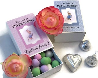 Peter Rabbit Shower Favors | Beatrix Potter Vintage Book | Slider Match Book Box | New Baby Boy Girl One Year Birthday | Set/20 Personalized