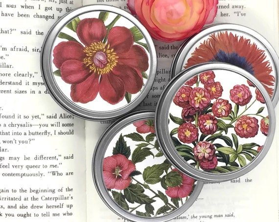 Flowers Organic Tea Tins Floral Gift Boxed Set | Gardener's Gift Red Botanical Prints Valentines Gift