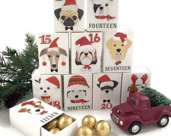 Dogs Advent Calendar Kit | Christmas Personalized Dog Lovers Christmas Countdown Decorations | Xmas Dog Breeds Favor Boxes Advent Kit