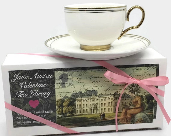 JANE AUSTEN Valentines Day Gift | Organic Tea Mini Books Literary Box Set Persuasion Emma Northanger Abbey Pride & Prejudice Mansfield Park
