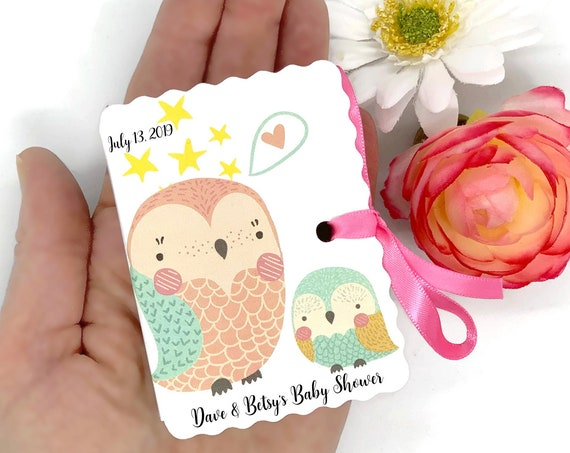 Owls Baby Shower Favor Boxes | 30 Personalized Mom and Baby Sprinkle Boy Girl Favors | 1st Birthday | Cute Bird Animal Aqua Pink Blush Decor