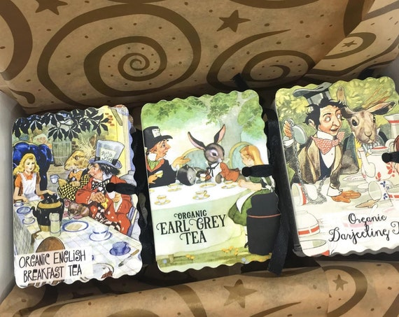 Alice in Wonderland Tea Gift | Organic Tea Pouches | Mad Hatter Tea Party Miniature Books Boxed Set | Get Well Gift Teacher Grandma Sister