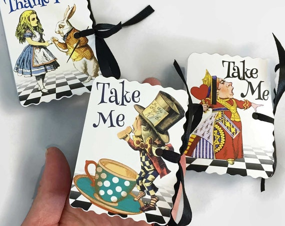 Alice in Wonderland Party Favors | 12 Personalized Miniature Book Theme Party Boxes | Baby Shower Girl Boy Birthday | Red Queen Mad Hatter