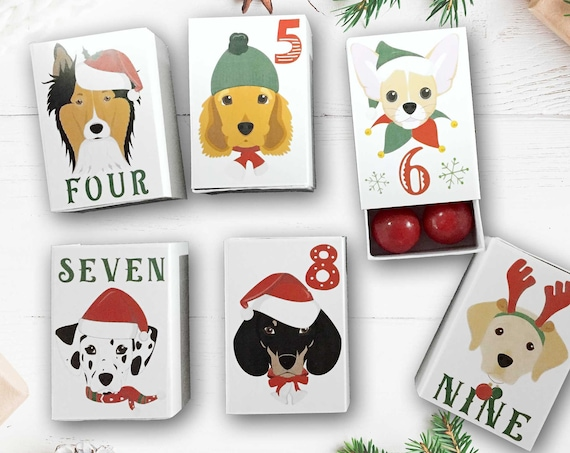 Christmas Dogs Advent Calendar Kit | Personalized Dog Lovers Christmas Countdown Decorations | Kids Xmas Dog Breeds Favor Boxes Advent Kit
