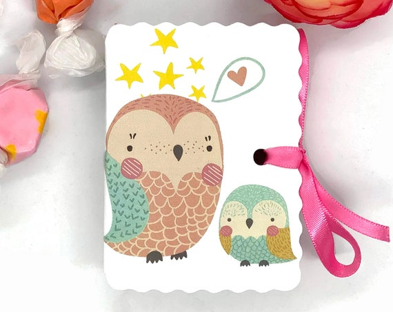 Mom and Baby Owls Shower Favor Boxes | 15 Personalized Boy Girl Favors | Baby Shower | Baby Sprinkle | Cute Bird Animal Aqua Pink Blush