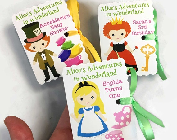 12 Cute Personalized Alice in Wonderland Party Favors | Miniature Book Theme Party | Baby Shower Girl Boy Birthday | Red Queen Mad Hatter