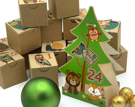 Christmas Tree Woodland Animals Kraft Advent Calendar Kit for Kids | 24 Boxes Include Personalized Die Cut Tree Box | Christmas Countdown