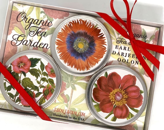 Organic Tea Botanical Floral Print Gift Set | Get Well Sympathy Birthday Gardener's Gift | Grandma Mom | Shelter in Place Gift Under 30