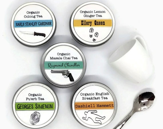 Detective Writers Literary Tea Gift Set | Tea Tins Organic Pouches | Gumshoe Private Eye Authors | Bookworm Gift Mystery Lovers | Book Club