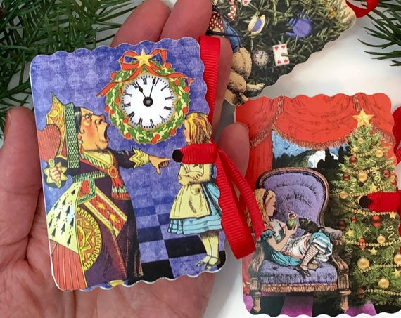 Alice in Wonderland Christmas Tea Gift Set | 12 Miniature Book Boxes w 24 Organic Tea Pouches