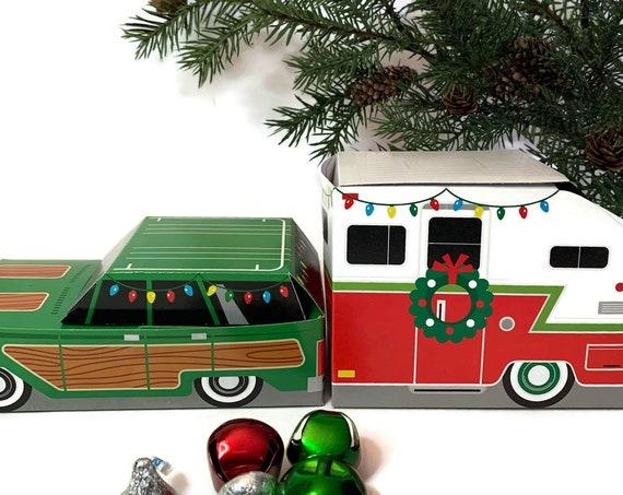 Retro Christmas Car & Camper Trailer Party Favor Boxes | SALE Set of 6
