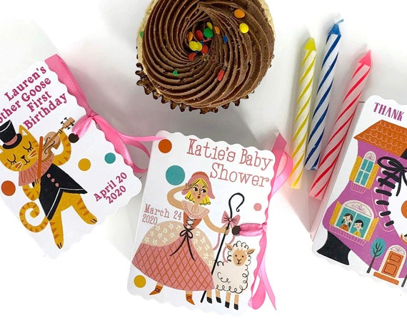 Personalized Mother Goose Party Favors | 50 Nursery Rhyme Mini Book Boxes for Boy Girl Birthdays and Baby Showers