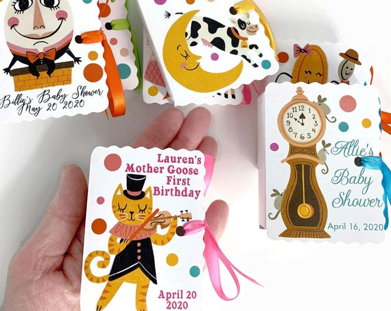 Personalized Mother Goose Party Favors | 16 Nursery Rhyme Mini Book Boxes for Boy Girl Birthdays and Baby Showers