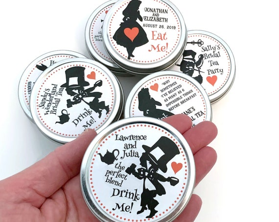 Alice In Wonderland Personalized Tin Favors for Mad Hatter Tea Parties Bridal Showers and Weddings | Set of 12