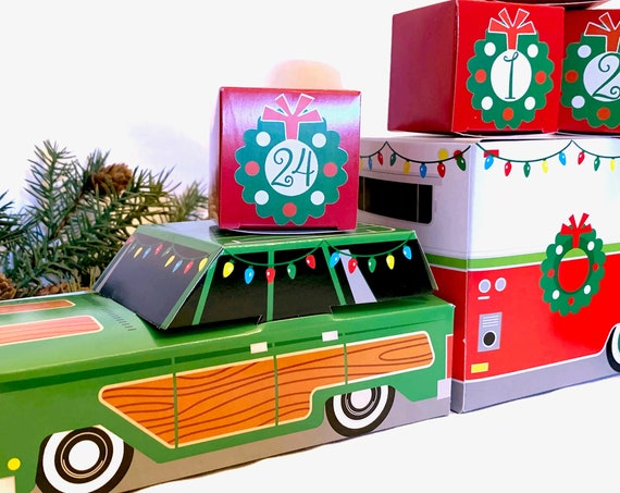 Retro Car & Camper Christmas Advent Calendar Kit | 24 Cube Boxes PLUS Vintage Trailer and Station Wagon Woody | Vintage Country Camping