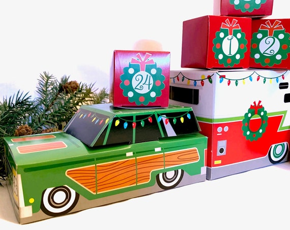Fun Car & Camper Advent Calendar | Retro Christmas 24 Cube Boxes PLUS Vintage Trailer Station Wagon Mid Century | Urban Chic Country Cottage