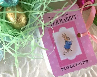 Peter Rabbit Favors Miniature Book Box | One Year Birthday | New Baby Shower | Goodie Candy Favor | Vintage Thank You | Matchbook Box Set/60