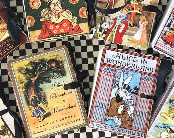 RESERVED 43 Alice in Wonderland Party Favors Personalized Miniature Book Boxes for Tea Parties Birthdays Weddings and Showers