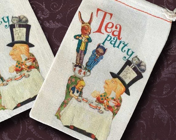 Mad Hatter Tea Party Favor Bags | 18 Alice in Wonderland | 3x5 | Ready to Ship | SALE DISCONTINUED Closeout