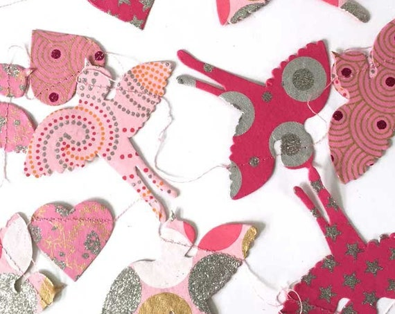 Flying Birds Hearts Paper Garland Banner Bunting Glitter | Wedding Shower | Baby Girl Shower | Birthday Decoration | Girls Room Decor SALE