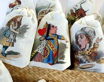 Alice in Wonderland Party Favor Bags | 10 Designs Color | Onederland Deluxe 3x5 | 4x6 | 6x8 | 8x10 Mad Hatter Tea | Personalized Customized