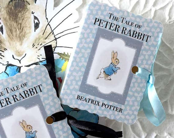 Peter Rabbit Party Favors | 25 Baby Shower One Year Birthday | Beatrix Potter | Girl Boy Pink Blue Personalized | Miniature Book Boxes