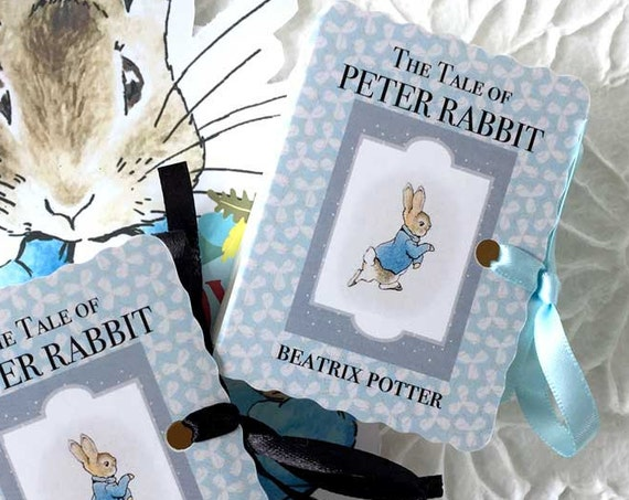 Peter Rabbit Party Favors | 10 Personalized Baby Shower Miniature Beatrix Potter Book Boxes Pink or Blue