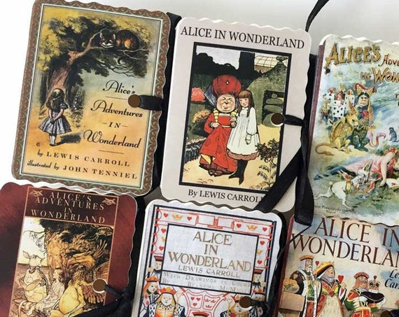 Alice in Wonderland Customized Favors | 35 Personalized Miniature Book Boxes | Tea Party Favors | Birthday Wedding Shower | Wonderland Decor