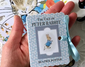 Peter Rabbit Shower Favors | Miniature Book Candy Boxes | New Baby | Boy Girl One Year Birthday | Beatrix Potter Vintage Book Cover Set 20