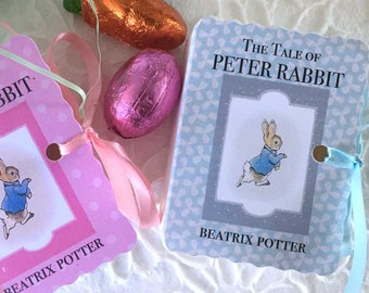 Peter Rabbit Favors Miniature Book Box | One Year Birthday Favor | Baby Shower Favor | Matchbook Box Goodie | Pink Blue Favour Thank You 12