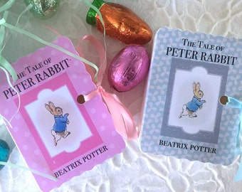 Peter Rabbit Party Favor Box Miniature Book | New Baby Shower | Book Shower Baby Boy Girl Birthday | Mini Book Box | 40 Pink Blue Customized