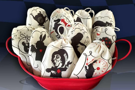 20 Alice in Wonderland 3x5 Favor Bags | Bold Graphic Modern Design Black Red | Mad Hatter Tea Party Shower Birthday DISCONTINUED SALE