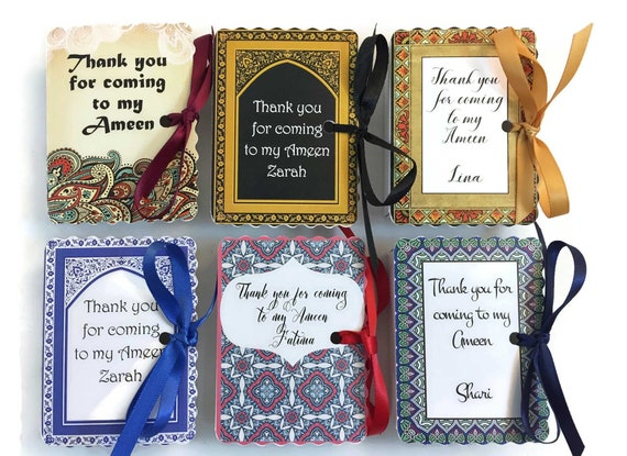 Ameen Party Favors | 100 Book Favor Boxes | Hifz Hafiz | Wedding Favors | Bismallah | Aqeeqah | Dholki | Mehendi Islam Personalized Custom